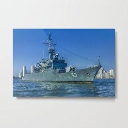 Army Ship in Caribbean Sea, Cartagena - Colombia Metal Print