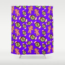 Cute lovely decorative seamless winter Christmas pattern. Happy gingerbread men and sweet candy. Shower Curtain