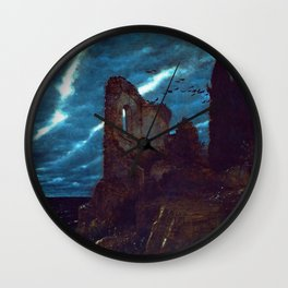 Twilight of the Abandoned Isles landscape painting by Arnold Bocklin Wall Clock