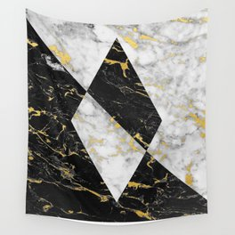 Diamond // Gold Flecked Black & White Marble Wall Tapestry