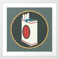 cigarette Art Prints featuring cigarette by Simon Khoo's Illustration