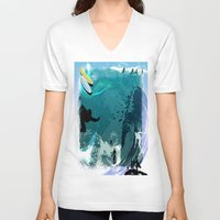 surfing V-neck T-shirts featuring Surfing by Robin Curtiss