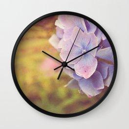 Purple Hydrangea flower. Wall Clock
