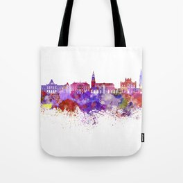 Groningen skyline in watercolor background Tote Bag