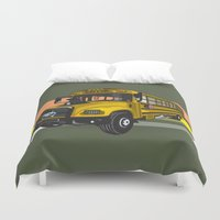 school Duvet Covers featuring School bus by mangulica