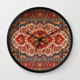 Ornate geometric tribal rug design Wall Clock