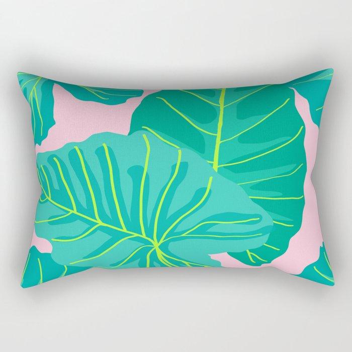 Giant Elephant Ear Leaves in Light Pink Rectangular Pillow