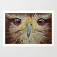hawk Art Prints featuring Hawk by unkz87