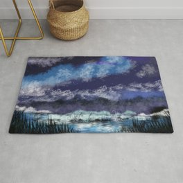 Starry night in the valley Rug