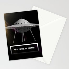We Come in Peace - UFO - Aliens Stationery Cards