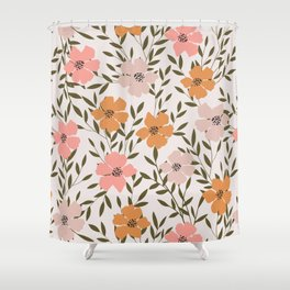 70s Floral Theme Shower Curtain