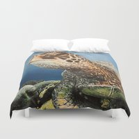 sea turtle Duvet Covers featuring Sea Turtle by nelee