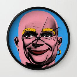 Mr Clean Pop Art on Blue Background Wall Clock