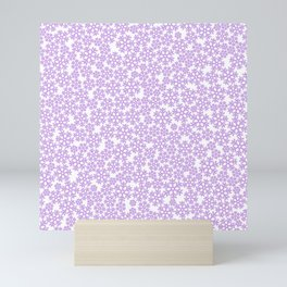Purple snow storm / Delicate snow flake pattern Mini Art Print