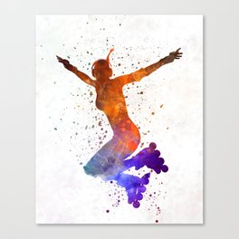 Woman in roller skates 07 in watercolor Canvas Print