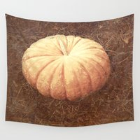 pumpkin Wall Tapestries featuring Pumpkin by Yellowstone Photo Studio