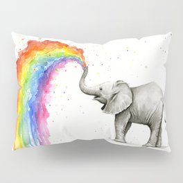 Baby Elephant Spraying Rainbow Pillow Sham