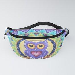 Little Purple Owl Mandala, by Soozie Wray Fanny Pack