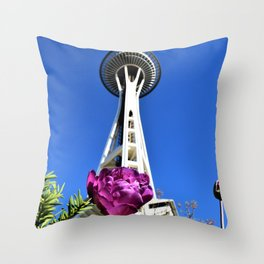 Purple Flower and Space Needle Throw Pillow