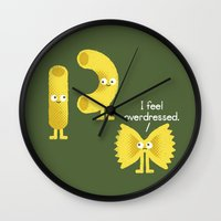 party Wall Clocks featuring Pasta Party by David Olenick