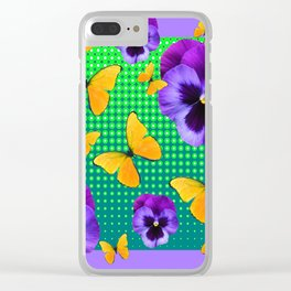 PURPLE PANSIES-BUTTERFLY GREEN OPTIC ART Clear iPhone Case