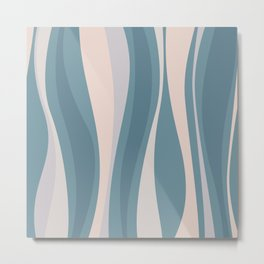 Blueprint Wavy Pattern 3 Metal Print