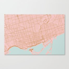 Pink and gold Toronto map, Canada Canvas Print