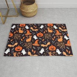 Halloween party illustrations orange, black Rug