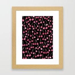 Cherry - black background Framed Art Print