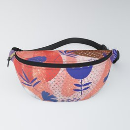 Blue Floral on abstract background  Fanny Pack