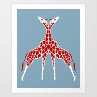 Giraffe Lovers - Red Art Print
