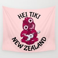 maori Wall Tapestries featuring Pink Hei Tiki with Ukulele by mailboxdisco