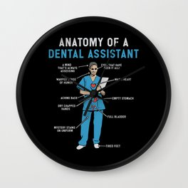 Funny Anatomy of a Dental Assistant Wall Clock
