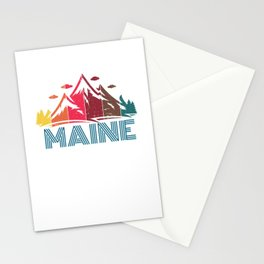 Retro Maine Mountain Design for Men Women and Kids Stationery Cards