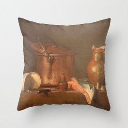 Jean-Baptiste-Simeon Chardin - Tranche de saumon Throw Pillow