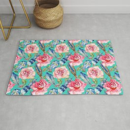 Hand painted blush pink blue turquoise watercolor boho roses floral Rug