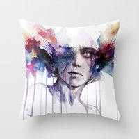 agnes Throw Pillows featuring l'assenza by agnes-cecile