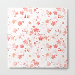 Peach pink Chinese cherry blossom on white Metal Print
