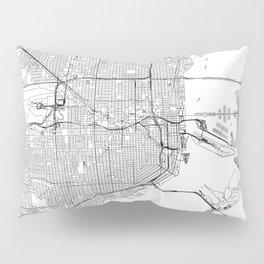 Miami White Map Pillow Sham