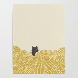 Cat and Yarn Poster