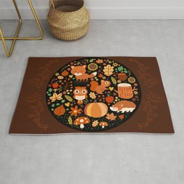 Autumn Party For Forest Friends Rug