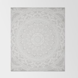 Mandala Soft Gray Throw Blanket