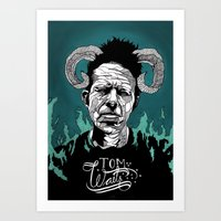tom waits Art Prints featuring Tom Waits by Linnéa Ek