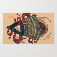 positive Area & Throw Rugs featuring Positive Thinking by Hector Mansilla