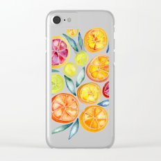 Sliced Citrus Watercolor Clear iPhone Case