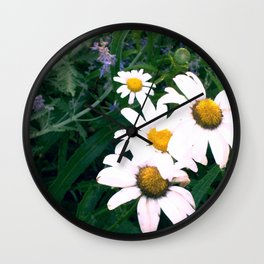 Daisies and Russian Sage Wall Clock