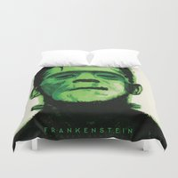 frankenstein Duvet Covers featuring Frankenstein  by Bonez Designz