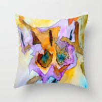 dick Throw Pillows featuring clever dick by Kay Weber