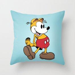 Mickey x Garfield  Throw Pillow