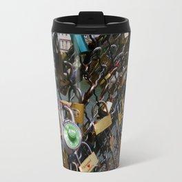 Love padlocks on Pont des Arts, Paris Travel Mug